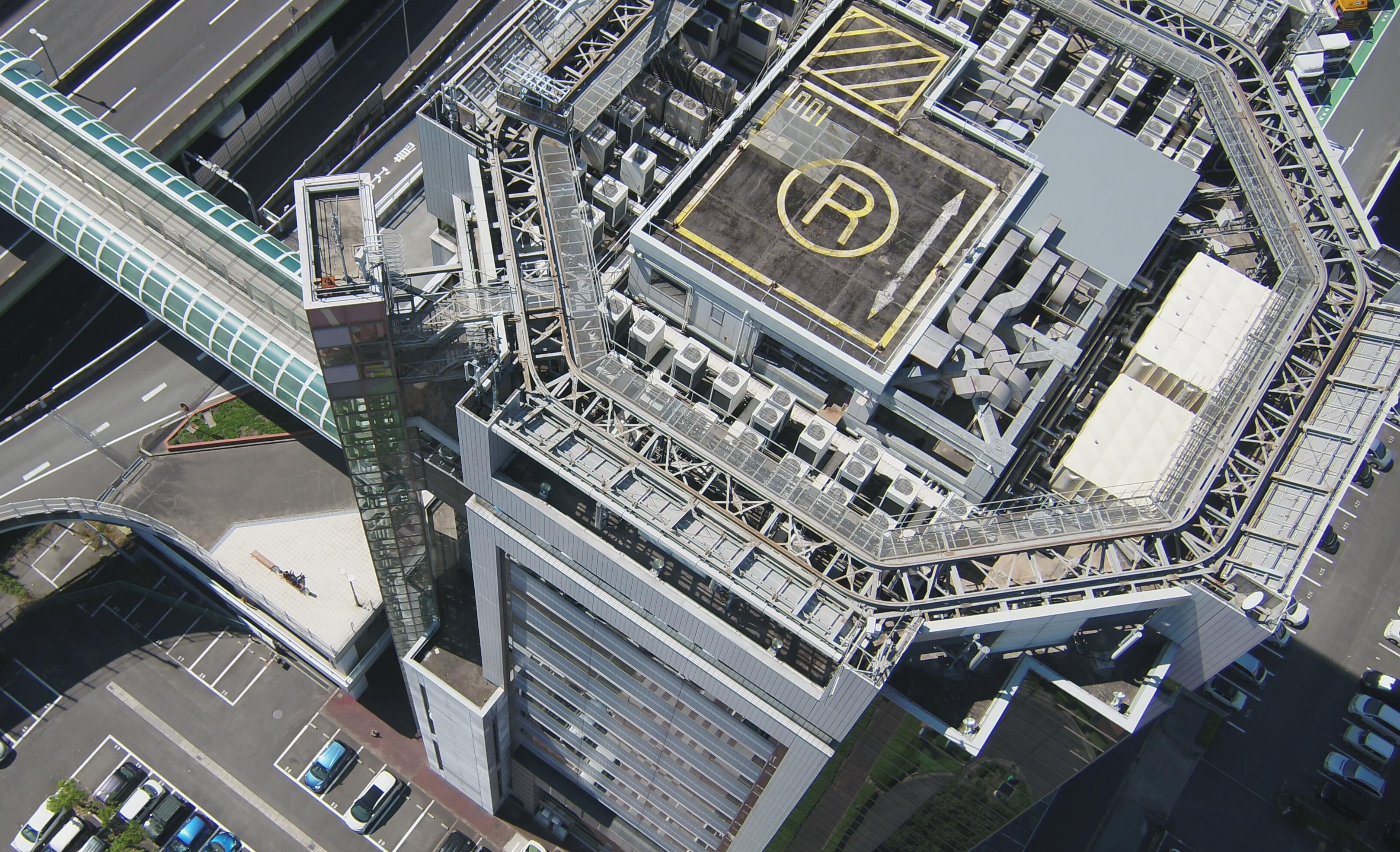 建物上空より